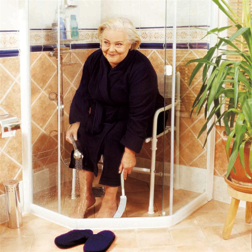 Hopfällbar duschstol, fristående, med ryggstöd och armstöd, enkel att transportera,