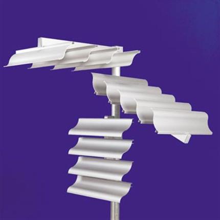 Lameller monterade horisontalt, lutande respektive vertikalt
