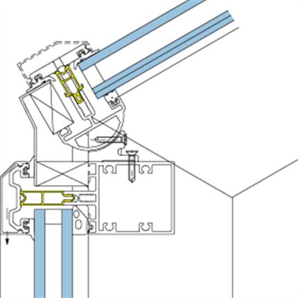 5050. Övergång glastak/fasad 95°-155°