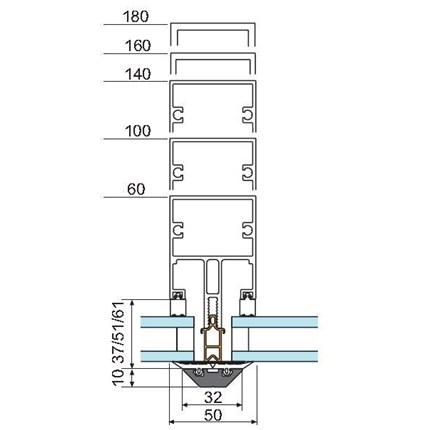 Sapa 5050 System glazing. Yttre glashållare 32 mm bred.