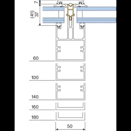 5050. Isolerat system. Profilbredd 50 mm. Fals för 2-glas förseglad ruta alt enkelglas