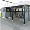 Weland miljöstation Tellus i kombination med Ymer cykelparkering
