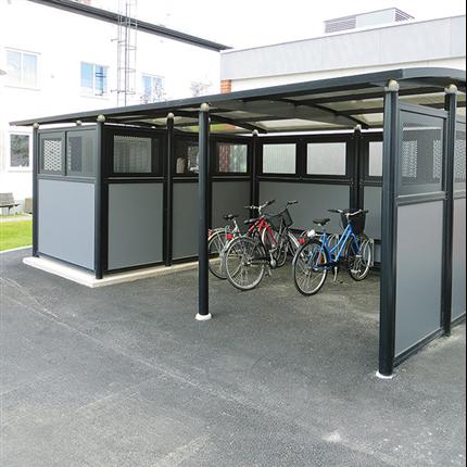Weland miljöstation i kombination med cykelparkering