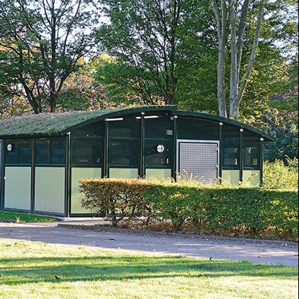 Weland miljöstation Duo 65 med sedumtak
