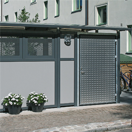 Weland miljöstation Tellus 30 i 2 sektioner och dörr på långsida