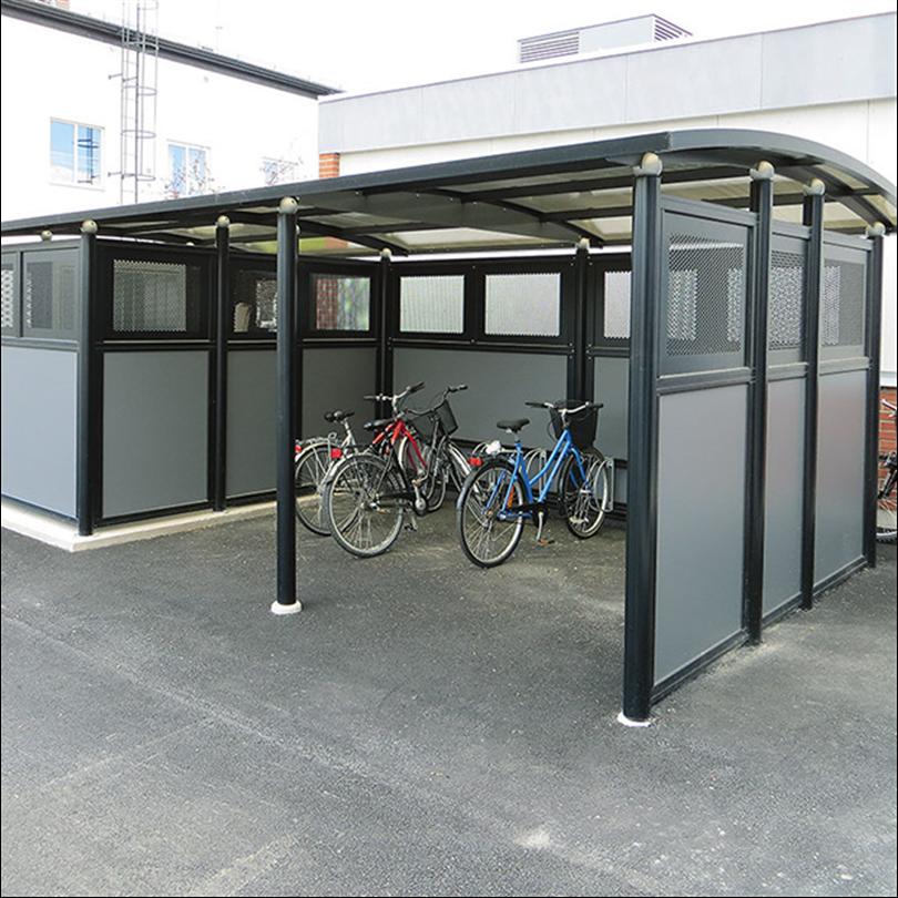 Miljöstation i kombination med cykelparkering