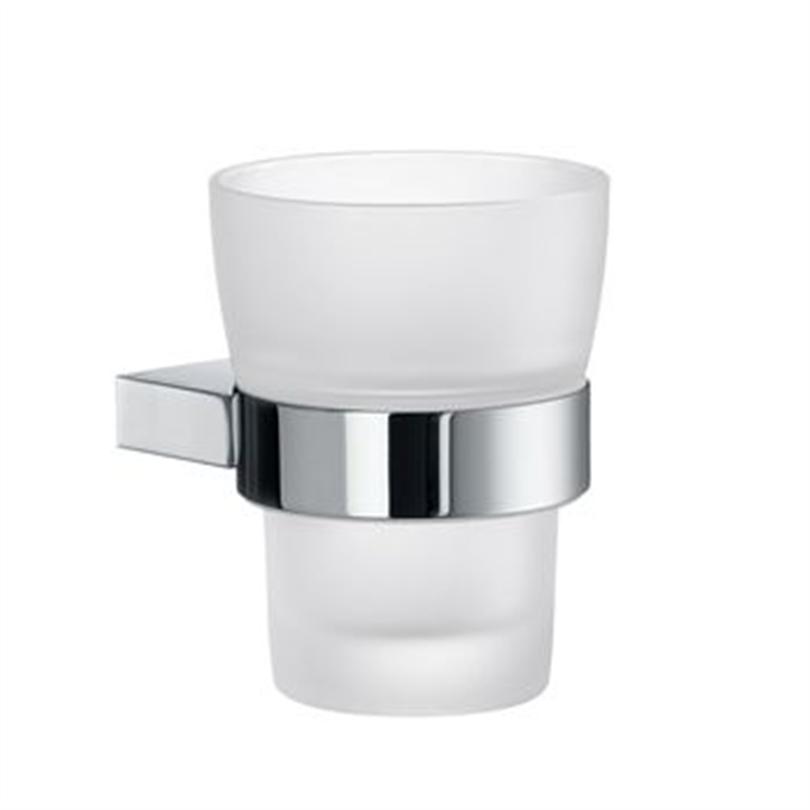 Smedbo AIR badrumsserie- Hållare med frostat tandborstglas