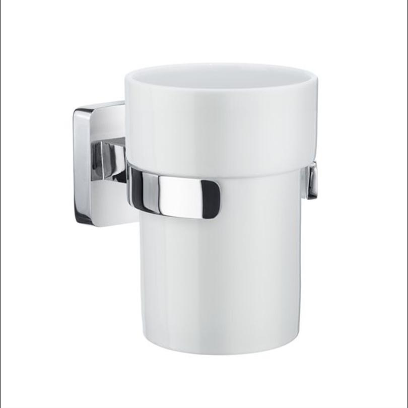 Smedbo ICE badrumsserie- Hållare med tandborstglas i porslin