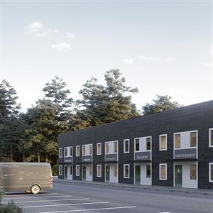 Moduluppbyggda industrihotell med trästomme