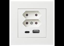 Uttag för både USB-A och USB-C