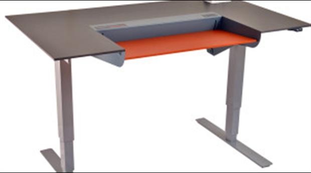 Dynadesk skrivbord med rörlig skiva