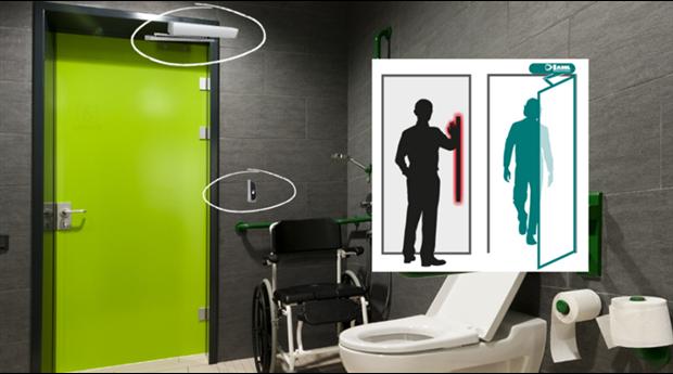 Beröringsfri låsning av WC-dörrar