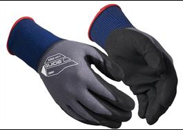 Guide 3304 arbetshandskar är handflatedoppade med ett tunt lager av nitril