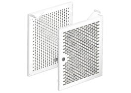 Skåpdörren har asymetrisk perforering på in- och utsida
