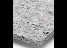 Materialet i akustikskivan är hämtat från bl.a industriellt textilspill