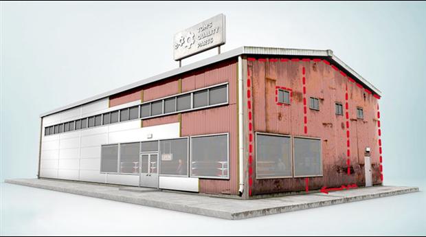 Energieffektiv renoveringspanel för affärsfastigheter