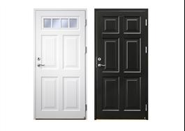 Exempel på Ekstrands passivhuscertifierade ytterdörrar, Ascot 300 vit och svart
