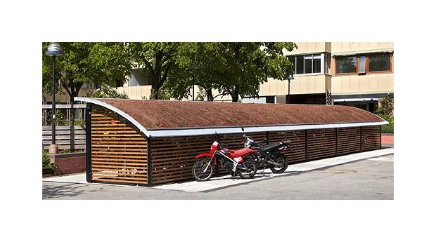Cykelgarage med sedumtak