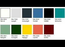 Elva standardfärger i miljövänlig pulverlack