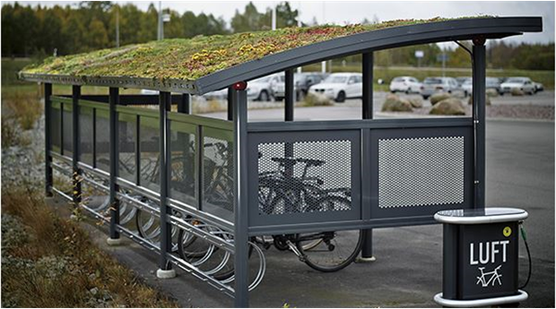 Cykelskydd med sedumtak